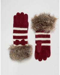 Alice Hannah   Seed Stitch Stripe With Faux Fur Trim Glove   Lyst