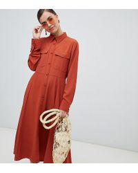 Monki - Button Up Midi Dress With Pockets In Rust - Lyst