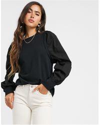 Vero Moda Sweat Top With Poplin Puff Sleeves - Black