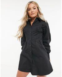 Missguided Robe chemise à détail corset - Noir