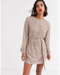 AX Paris Платье С Поясом И Леопардовым Принтом -мульти - Многоцветный