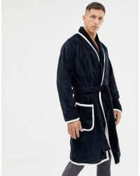 dc5f9d3747 ASOS - Fluffy Robe In Navy With Ecru Piping - Lyst