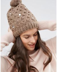 Alice Hannah - Cable Knit With Gem Beanie - Lyst