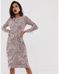 ASOS Floral Midi Fringe Dress - Pink