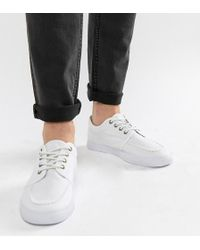 ASOS - Wide Fit Lace Up Plimsolls In White Canvas - Lyst
