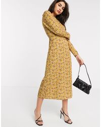 Warehouse Ditsy Floral Midi Dress - Yellow