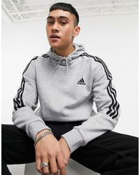 adidas Originals Adidas Training - Hoodie à 3 bandes - Gris
