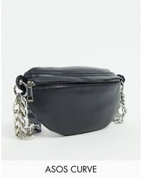 ASOS Asos Design Curve Pu Fanny Pack With Chunky Chain - Black