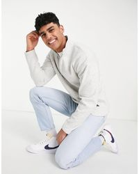 Abercrombie & Fitch Central Label Logo Colourblock Half Zip Sweatshirt - Grey