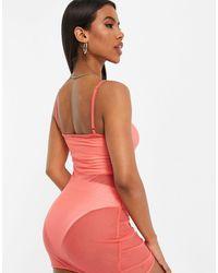 South Beach Платье На Бретельках Из Эластичной Сеточки Со Сборками Спереди -оранжевый Цвет