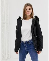 ONLY Lucca Parka Coat With Faux Fur Hood - Black