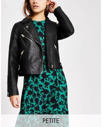 River Island Quilted Faux Leather Biker Jacket - Black
