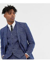 Heart & Dagger - Skinny Fit Suit Jacket In Blue Dogstooth - Lyst