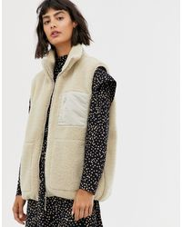 & Other Stories Borg Gilet In Beige - Wit