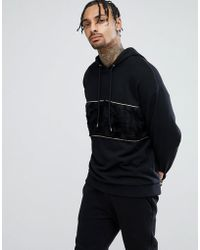 ASOS - Asos Oversized Hoodie In Black With Faux Fur Panel - Lyst