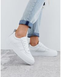 Whistles Anna Deep Sole Leather Sneaker - White