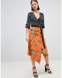 Warehouse - Barbican Collection Songbird Print Wrap Skirt - Lyst