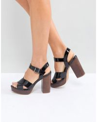 c7544e6ac3f7 Lyst - ASOS Touche Lace Up Wedge Sandals in Black