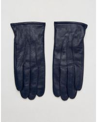 ASOS - Leather Gloves In Navy - Lyst
