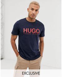 HUGO Темно-синяя Футболка С Логотипом Dolive-темно-синий