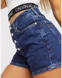 Calvin Klein – Dunkelblaue Jeansshorts mit hohem Bund und sichtbaren Knöpfen