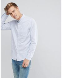 Hollister | Buttondown Slim Fit Oxford Shirt Seagull Logo In Blue Stripe | Lyst