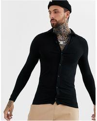 ASOS Organic Muscle Fit Long Sleeve Jersey Shirt - Black