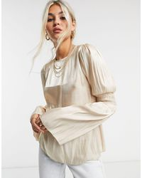 TOPSHOP - Satin Ruched Sleeve Blouse - Lyst
