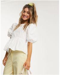 Monki Melina Poplin Organic Cotton Puff Sleeve Blouse - White