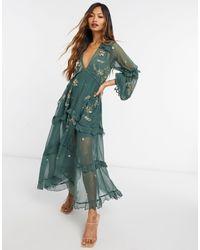 ASOS Свободное Платье Миди С Кластерной Отделкой - Зеленый