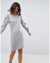 ASOS - Knitted Dress With Puff Shoulder - Lyst