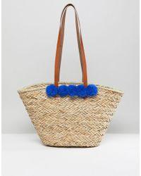 Vincent Pradier - Vinecent Pradier Structured Pom Pom Straw Beach Bag - Lyst