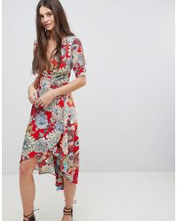 AX Paris - Printed Wrap Dress - Lyst