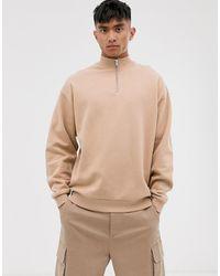 ASOS Sweat-shirt oversize à col zippé - Beige - Neutre