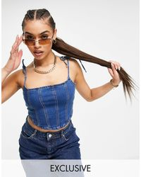 Missguided Co-ord Denim Corset Top With Seam Detail - Blue