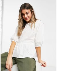 New Look Cutwork Poplin Collar Top - White