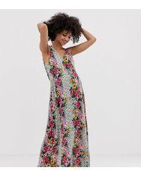 616de4e8ef ASOS - Asos Design Maternity Maxi Beach Dress With Ruched Waist Detail In  Floral Tile Print