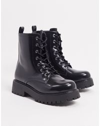 Monki Leandra Faux Leather Chunky Lace Up Boots - Black