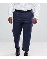 ASOS - Pantalones tapered de vestir en mezcla de lana texturizada azul marino de ASOS PLUS - Lyst