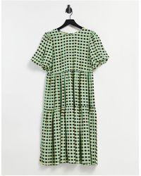 Glamorous Midi Smock Dress With Tiered Skirt - Green