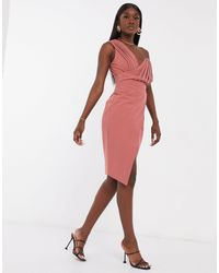 Lavish Alice Розовое Платье Миди На Одно Плечо -розовый