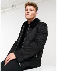 New Look Черная Куртка Из Искусственной Овечьей Шерсти -черный