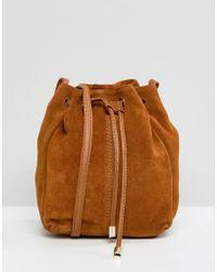 ASOS Design Suede Mini Minimal Duffle Bag - Brown