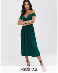 ASOS Asos Design Tall Lace And Pleat Bardot Midi Dress-green