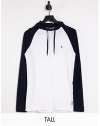 French Connection Tall Raglan Contrast Hoodie Long Sleeve Top - White