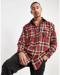 Mennace Oversized Checked Shirt - Red