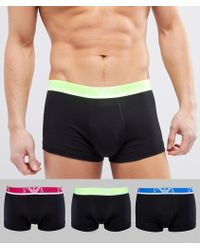 Emporio Armani - 3 Pack Trunks In Black - Lyst
