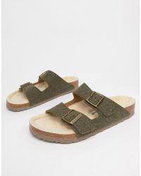 8db95ee90dc Birkenstock - Arizona Doubleface Sandals In Khaki - Lyst