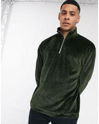TOPMAN Half Zip Velour Jumper - Green