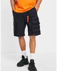 Bershka Cargo Multipocket Utility Shorts - Black